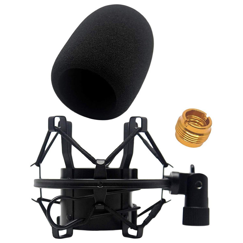 Foam Windscreen With Shock Mount To Eliminate Vibrations - Acoustic Foam