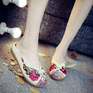 Image 3 - Veowalk pantoufles dété pour femme, chaussures de base plates et plates, broderie de fleurs, en coton, décontracté