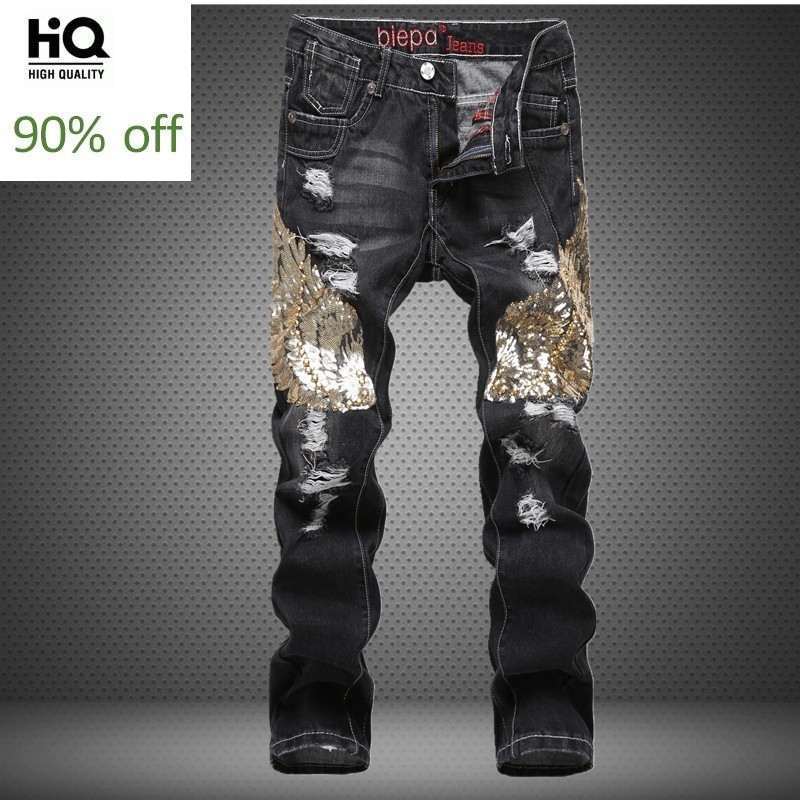 New Straight Jeans Men Sequin F Male Hole Ripped Jeans Washed Straight Denim Pants Men Plus Size Zippers Casual Trousers