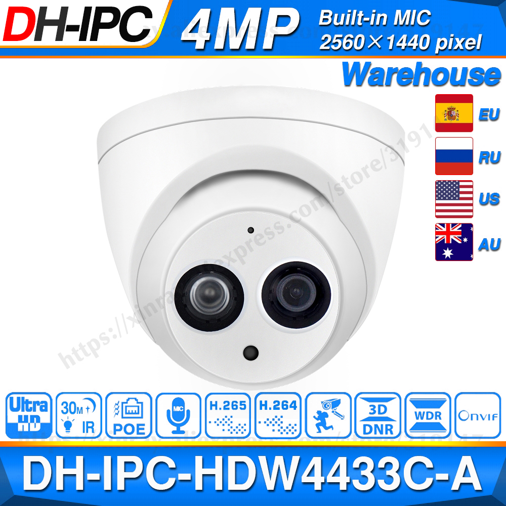 Dahua IPC-HDW4433C-A 4MP HD POE Network IR Mini Dome IP Camera Starlight Built-in MiC CCTV Camera Replace IPC-HDW4431C-A