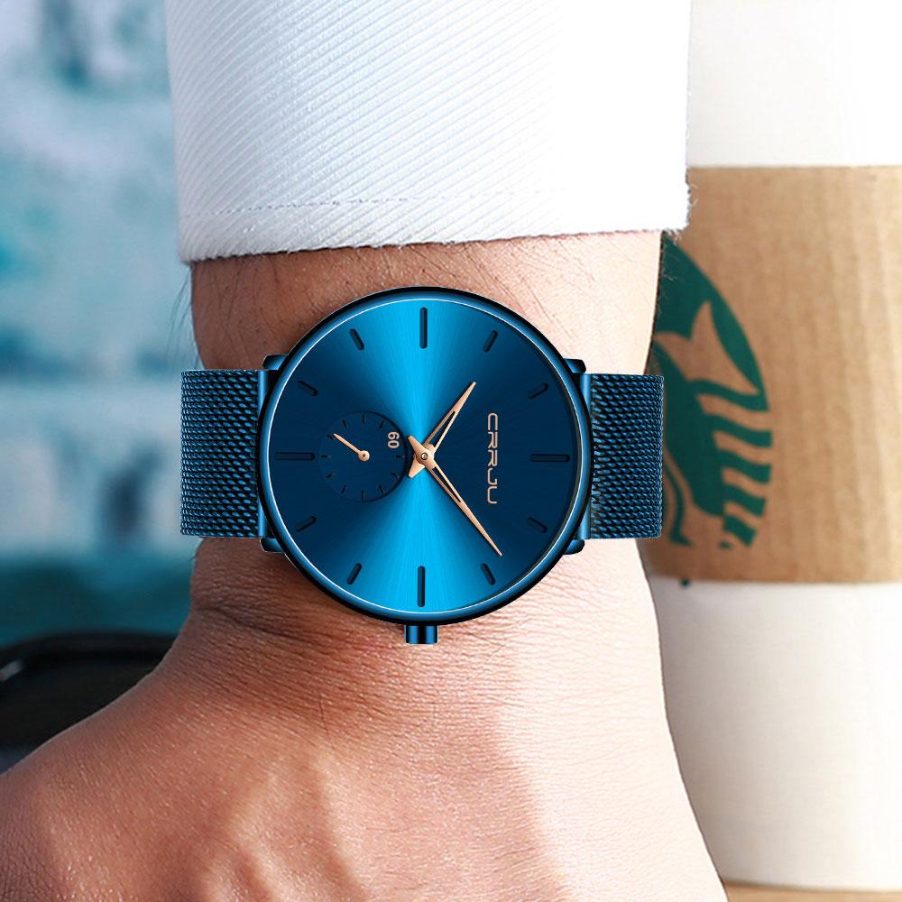 H34036b6ec5bb42cab27c2dd739952420h CRRJU Ultra Thin Blue Stainless steel Quartz Watches Men Simple Fashion Business Japan Wristwatch Clock Male Relogio Masculino