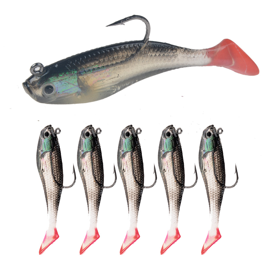 5pcs 6.5cm Topwater Popper Minnow Freshwater Fishing Lures Bass Bait Tackle Hook