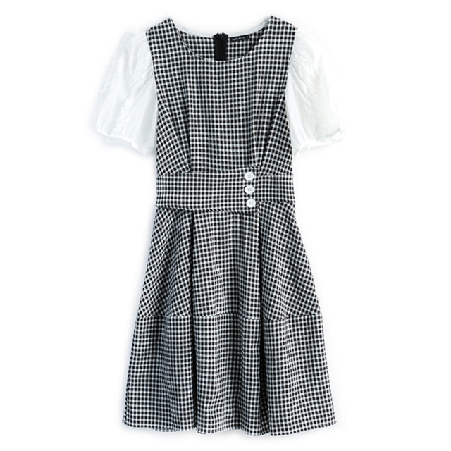 Awarose Plaid Dress For Women Mesh Short Sleeves Patchwork High Waist A-Line Elegant Casual Ladies Party Dresses Female Clothes 3