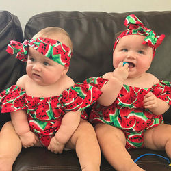 Conjunto de roupas para bebês, 2 peças, moda infantil, de algodão, fritar, estampa de melancia, macacão, conjunto de roupas de verão para meninas