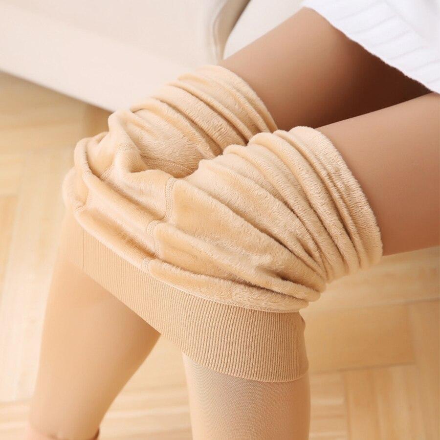 Winter Plus Velvet Legging Women Warm Stepping Foot Pants Casual Solid Thick Slimming Leg-Shape Leggings Trousers Female Elastic