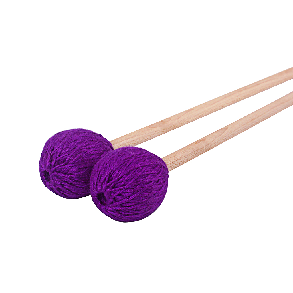 Pack Of 2 Soft Purple Wool Head Marimba Timpani Mallet Rods Maple Handle, 43cm