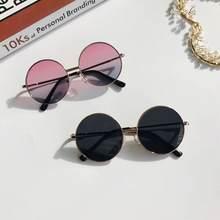 Gafas de sol redondas Retro para mujer, lentes de aleación para niños, gafas de sol femeninas con montura para Conductor, accesorios de coche