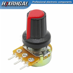 1pcs WH148 B10K B20K B50K B100K 3PIN 15mm 1K 2K 5K 10K 20K 50K 100K 250K Adjustable Potentiometer hjxrhgal + 1pcs Red knob