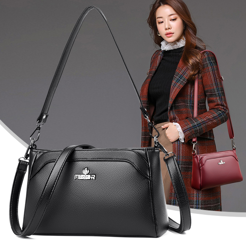 New Winter Soft PU Leather Trendy Small Square Messenger Bag for Women Girls Simple Lightweight Shoulder Handbags All-match Sac