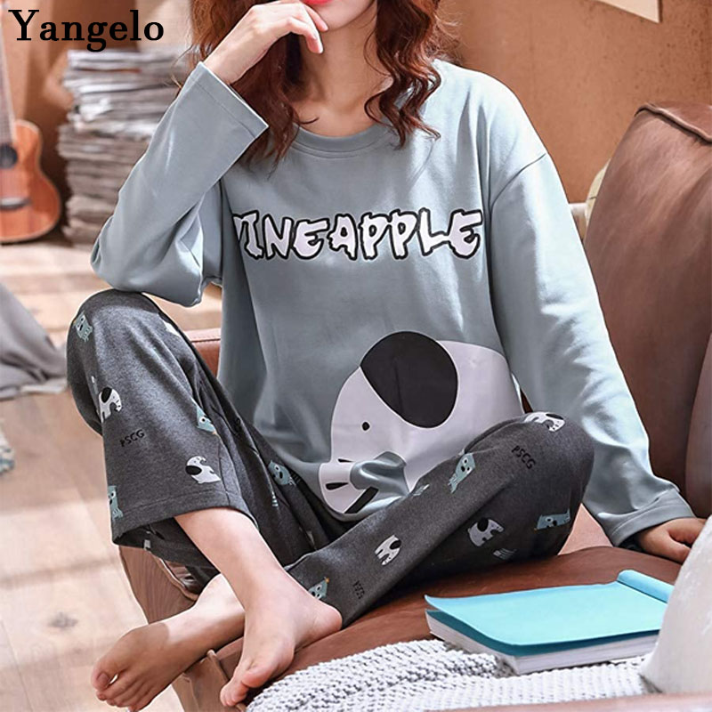 Yangelo Pajamas Room Wear Women's Top And Bottom 2 Piece Set Long Sleeve Cotton Long Pants Unisex Elephant Clothing 2020 New