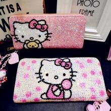 Hello Kitty Diamond Cute Wallet Children Cartoon KT Cat Personality Kitty Cat Mo