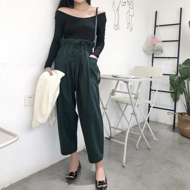 Zmra Autumn & Winter High-waisted hua bao ku Women's Casual   Pants   Korean-style Slimming   Capri   Harem   Pants   a Generation of Fat