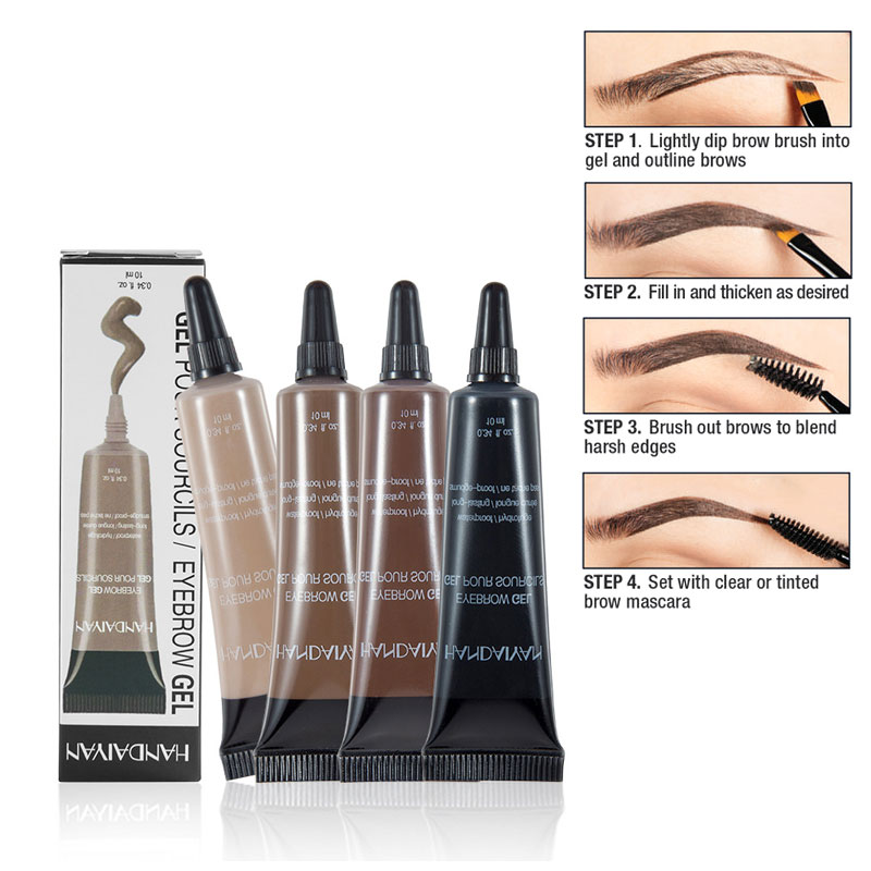 Henna Eyebrow Gel Cream Waterproof Tattoo Pen Brush Kit Women Makeup Microblading Eyebrows Tint Eyebrows Enhancer Dye Cosmetics