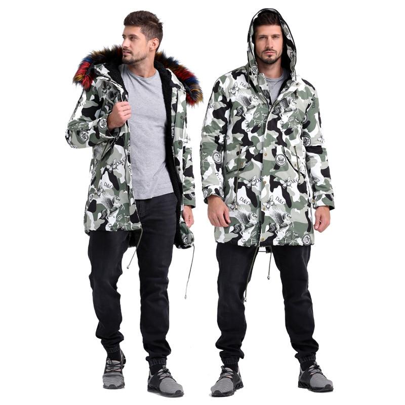 Coat Suit Fur-Liner Faux-Fur-Coat Artificial-Leather Men's Winter Casual Hat Long Zipper