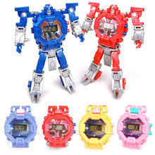 Plastic Waterproof Robot Children Watch Toys for Birthday Christmas Gift Boys kids Watches horloge elsa
