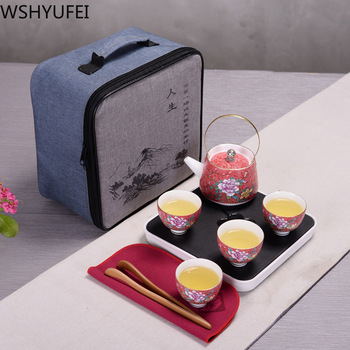 Hand Painted Chinese ceramics Tea Sets Portable Travel Kung Fu Tea Set Home Office Cups Coffee Container With Bag Car tea set