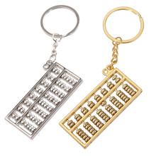 Chinese Abacus Keychain Mathematics Pendant Accessories Keyring Creative Stainless Steel Key Chain