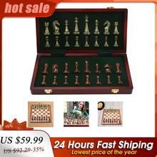 Chess-Set Board Portable International Anqtique Family Folding Zinc-Alloy