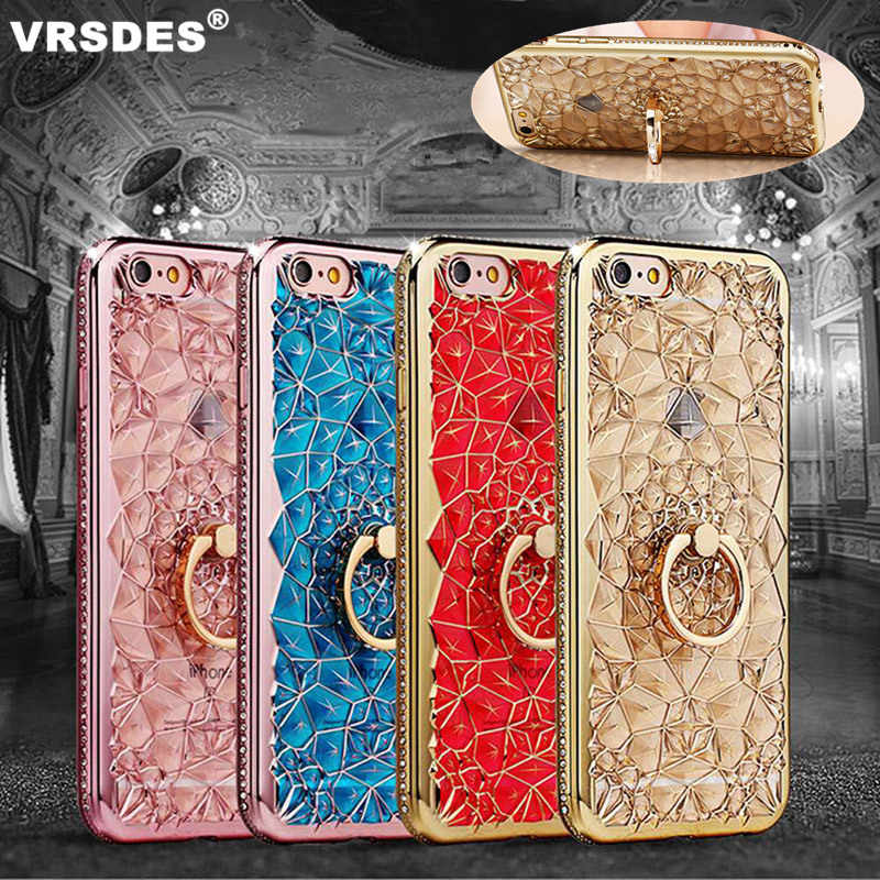 For iPhone XS MAX XR X 8 7 6 6S Plus Case Stand Holder Diamond Silicone Cover For Samsung Galaxy A9 A7 2018 A10 A30 A50 A70 Case