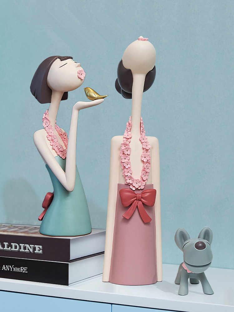 Nordic Stil Mädchen Modell Statue Figurine Handwerk Figur Ornament Fairy Garten Miniaturen Moderne Hause Dekoration Zubehör