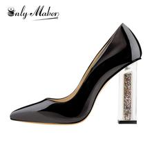 Onlymaker Women's High Heel Pumps Shoes Lucite Clear Perspex Glitter Block Black Pointed Toe Pumps Shoes Plus Size US5~US15