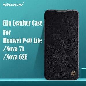Image 1 - For Huawei P40 Lite Nova 7i Flip Case Nillkin Qin Vintage Leather Flip Cover Card Pocket Case For Huawei Nova 6SE Phone Bags