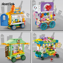 4sets/Lot Festooned Vehicle,Food stand,Beverage mobile store legoingly City Mini Street View Building Block Kids Toys Gift