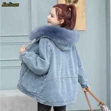 Smlinan 2020 зимняя джинсовая куртка женская одежда толстая