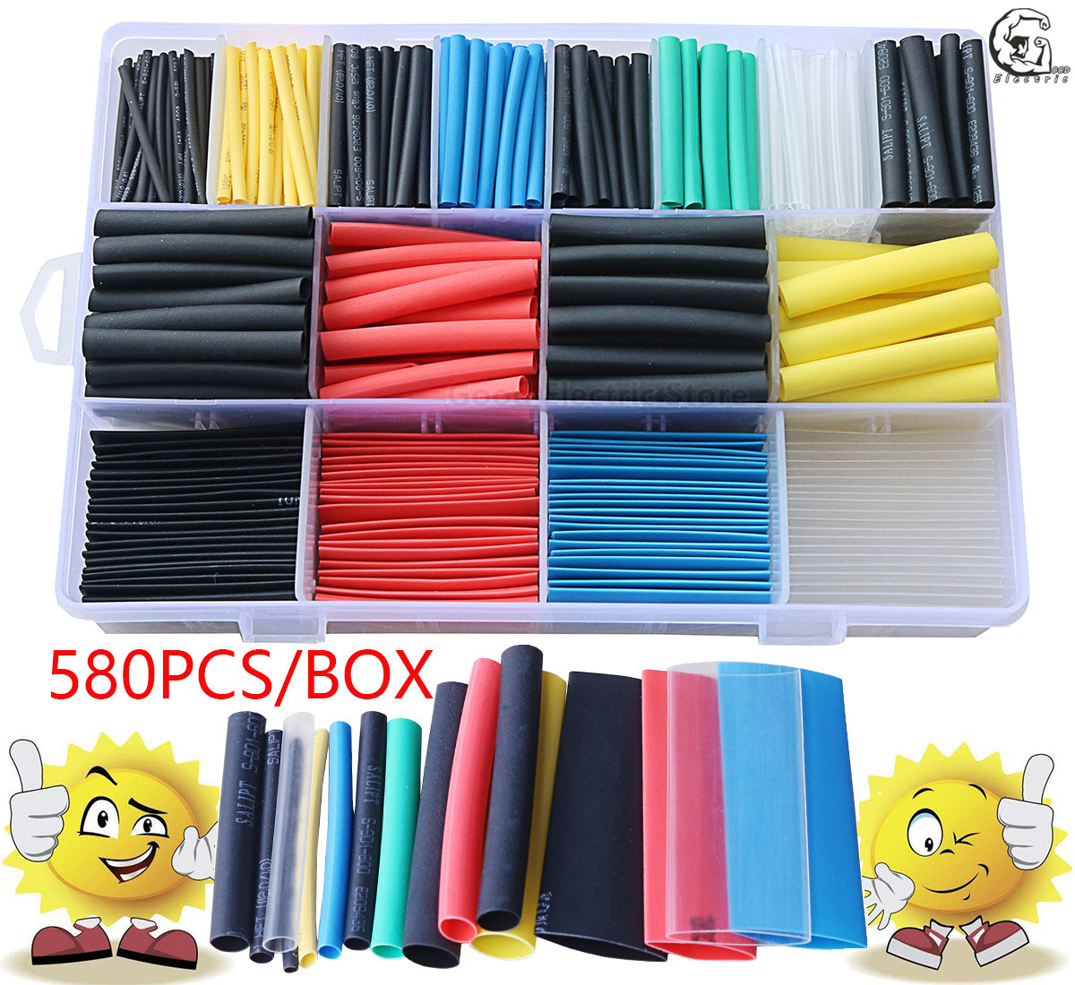 580pcs 530pcs 260pcs 2:1 Wrap Wire Cable Insulated Polyolefin Heat Shrink Tube Ratio Tubing Insulation Shrinkable Tubes