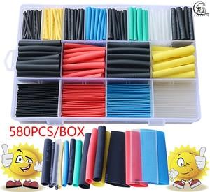 580pcs 530pcs 260pcs 2:1 Wrap Wire Cable Insulated Polyolefin Heat Shrink Tube Ratio Tubing Insulation Shrinkable Tubes(China)