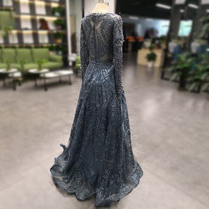 Image 4 - Novo luxo miçangas manga longa vestidos de celebridades dubai árabe muçulmano robe de soiree rendas formal festa à noite vestido l5608