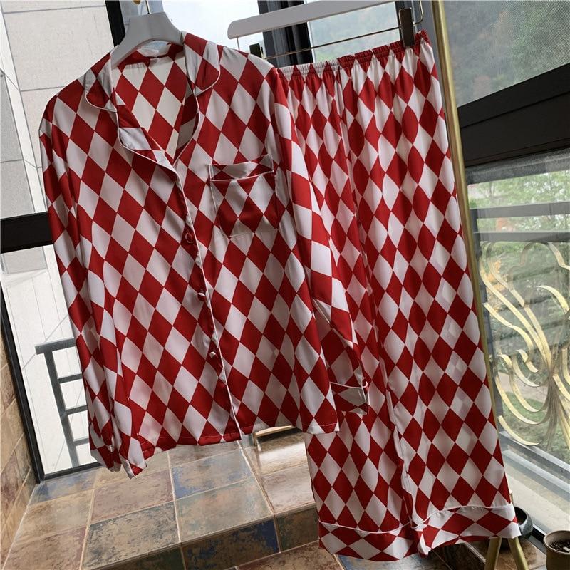 Lisacmvpnel Plaid Printing Long Sleeve Women Pajama Set Satin Soft Pajamas