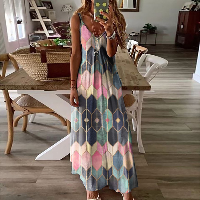 Summer Women Dresses Ladies V Neck Sleeveless Casual Printed Camisole Long Dress for Women 2021 Fashion Loose A-Line Dress 1