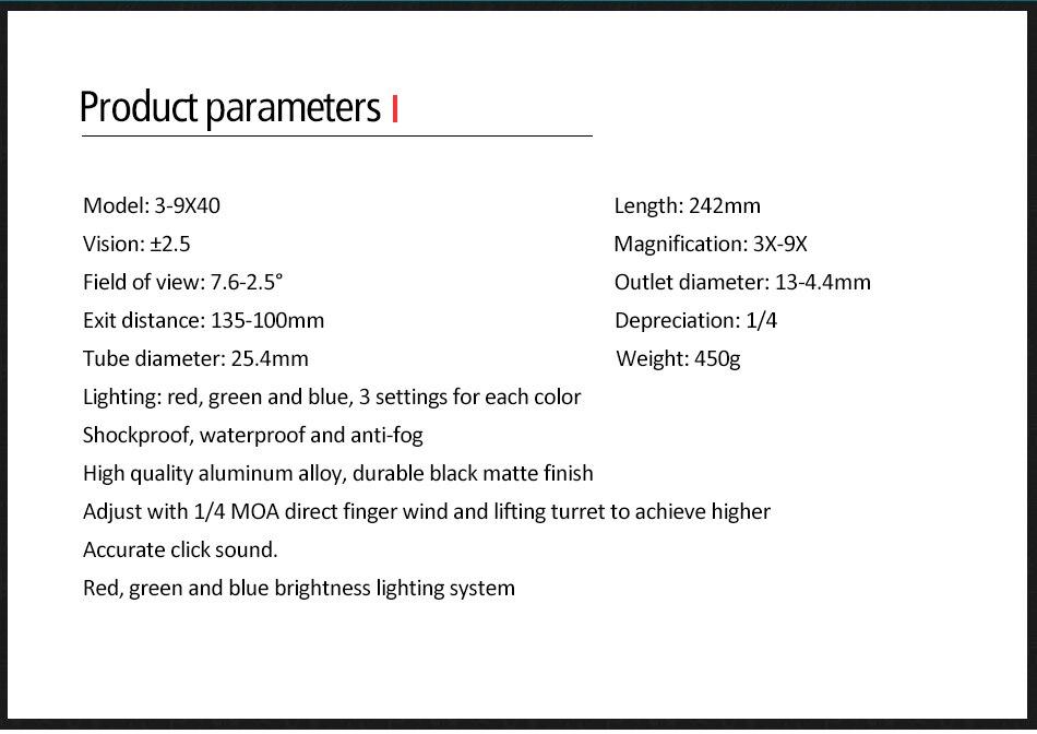 3-9x40 riflescope tático rifle óptico âmbito rgb