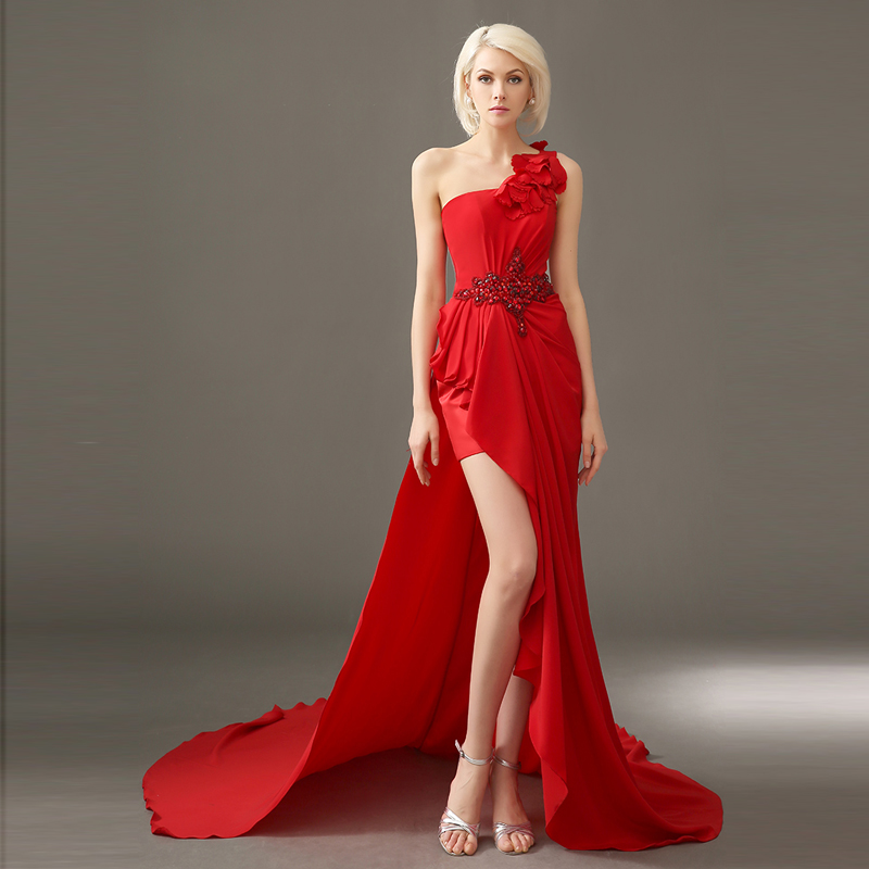 Crystal Flower Robe De Soiree 2018 Sexy One Shoulder Vestidos After Short Before Long Evening Prom Mother Of The Bride Dresses