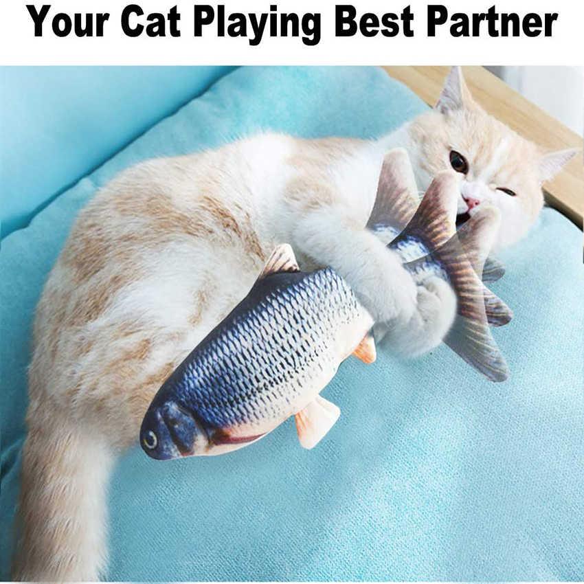 전기 고양이 장난감 물고기 USB 충전기 대화 형 현실적인 애완 동물 고양이 씹는 장난감 Catnip 플로피 물고기 고양이 장난감 애완 동물 용품 고양이