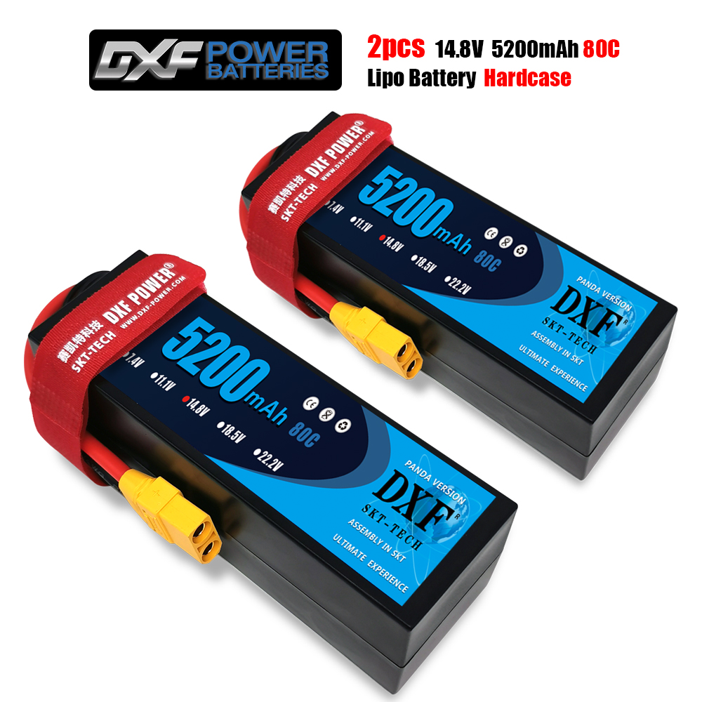DXF <font><b>Lipo</b></font> <font><b>4S</b></font> Battery 14.8V <font><b>5200mah</b></font> 80C/160C T Deans XT60 EC5 XT90 XT150 HardCase For 1/10 1/8 Buggy Car Airplanes Boats RCPart image