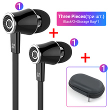 Langsdom Mijiaer JM21 3.5mm Earphone Wired Headphone 2 Pieces with 1 Piece Zipper Storage Bag Best Match For Carrying Outside