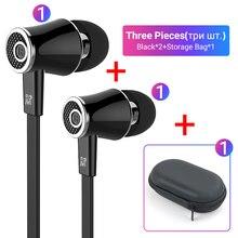 Langsdom Mijiaer JM21 3,5mm Kopfhörer Verdrahtete Kopfhörer 2 Stück mit 1 Stück Zipper Lagerung Tasche Beste Spiel Für die Durchführung außerhalb