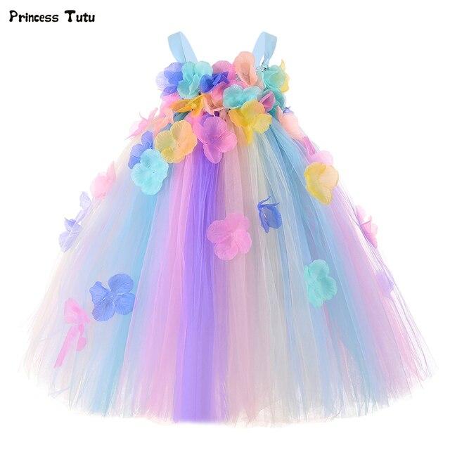 パステル花の妖精ガールチュチュドレスプリンセスチュールフラワーガール結婚式ページェントガウン子供の誕生日パーティードレス