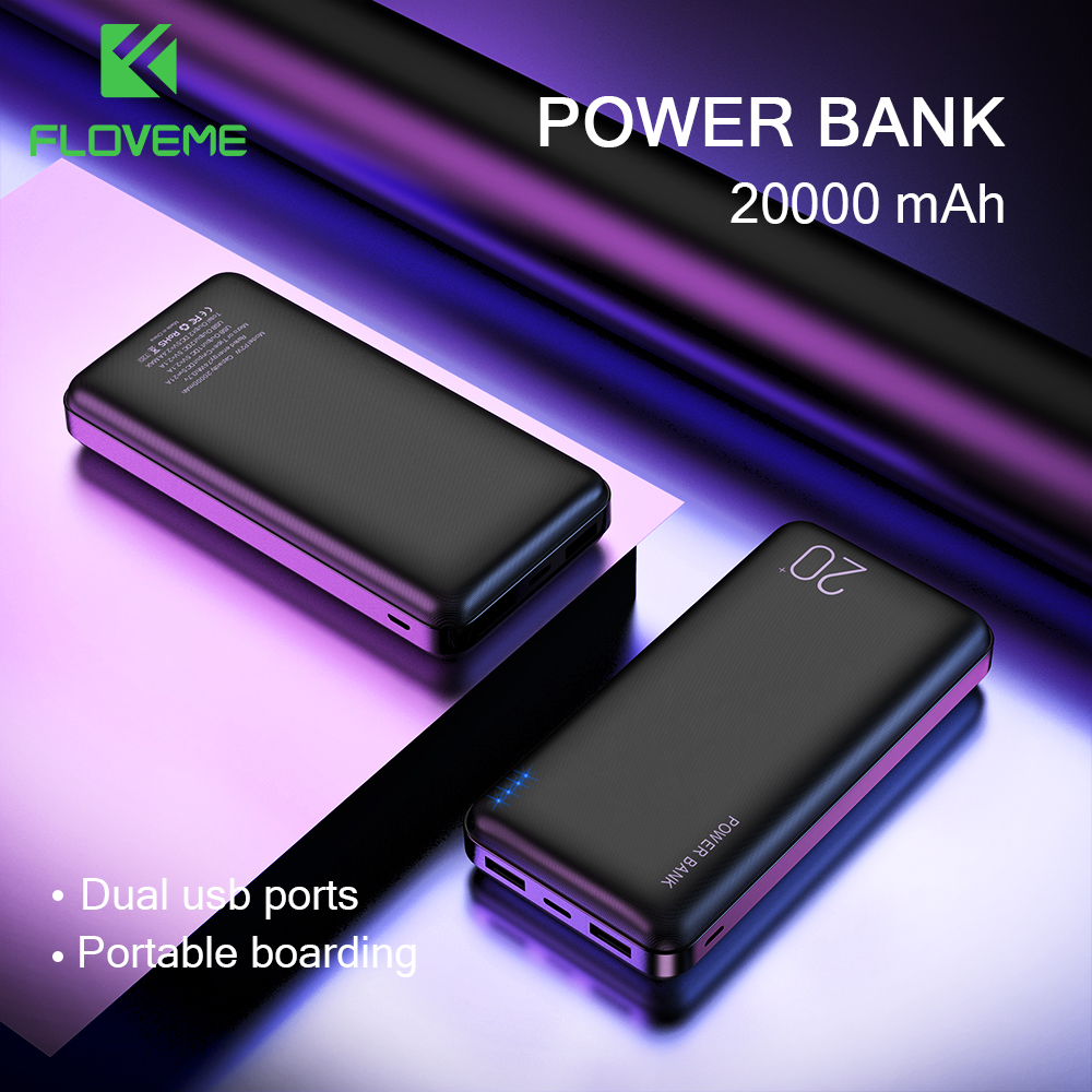 FLOVEME 10000/20000 мА/ч, Мощность банка для Xiaomi Mi 9 Мощность банк Зарядное устройство с двумя портами Usb Порты и разъёмы устройств Bank внешняя Батарея ...