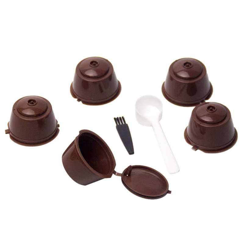 5Pcs Coffee Filter Basket Capsules Reusable Refillable Nescafe Capsule Cup Coffee Machine Coffee Capsule Caps Spoon Brush