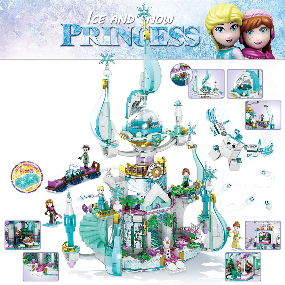 2020 Girl Friends Fairy Princess Anna Elsa Fantasy Snow Castle Building Blocks Bricks lepining Friends Anna Elsa Kids Toys