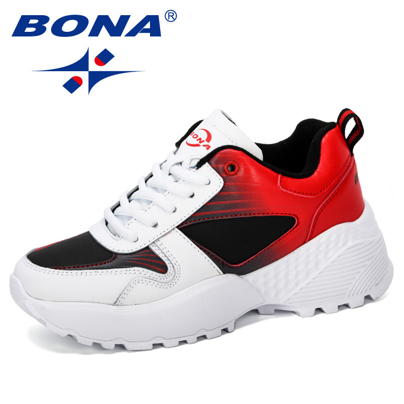 BONA 2019 New Arrival Casual Shoes Female Fashion Sneaker Lace Up Leisure Footwear Women Vulcanize Shoe Platform Outdoor Trendy