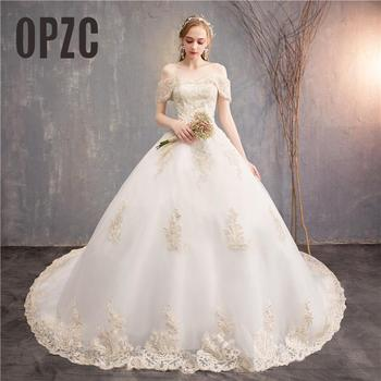 Luxury Embroidery  Cathedral/ Royal Train wedding dresses new design boat neck off the shoulder white champagne appliques gowns7