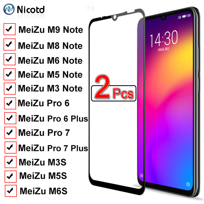 2 Pieces Full Cover Protective Glass On For Meizu M9 M8 M6 M5 M3 Note M3S M5S M6S Pro 6 7 Plus Tempered Screen Protector Glass