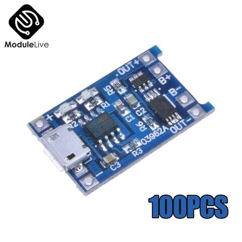 100 pces micro usb 5 v 1a 18650 tc4056a modulo carregador de bateria de litio