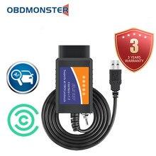 ELM327 V1.5 Bluetooth Coding Reader OBD2 Scanner Cable Switch Key ,USB Diagnostic Tools Forscan Obdii Elm 327 Software for Ford
