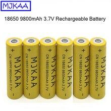 MJKAA 6Pcs 18650 3.7V 9800mAh Li-ion Rechargeable Battery High Capacity Batteries for Flashlight Power Bank стоимость