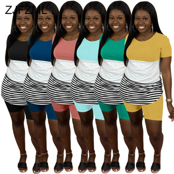 Striped Patchwork 2 Two Piece Matching Sets Women O Neck Short Sleeve T Shirt And Biker Shorts Sweatsuits Club Outfit Tracksuits casual matching sets summer two piece set o neck short sleeve t shirt high waist side striped shorts sets